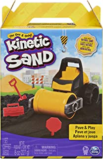Kinetic Sand, Pave & Play Construction Set with Vehicle and 8oz Black, for Kids Aged 3 and up