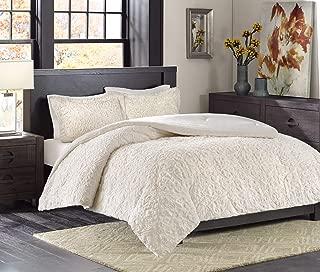 Madison Park Bismarck Full/Queen Size Bed Comforter Set - Ivory, Embroidered Medallion – 3 Pieces Bedding Sets – Faux Fur Plush Bedroom Comforters