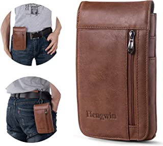 Hengwin iPhone 7 Plus Belt Clip Pouch Leather Smartphone Holster iPhone 8 Plus Belt Case for Men iPhone Xs Max Belt Loop P...