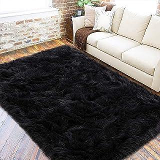 VARWANEO Ultra Soft Fluffy Rugs Faux Fur Sheepskin Area Rug for Bedroom Bedside Living Room Carpet Nursery Washable Floor ...