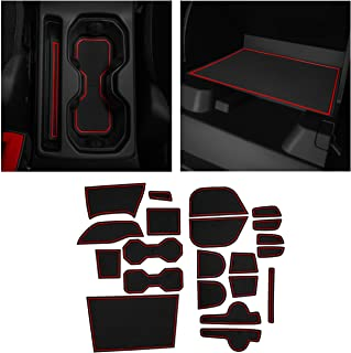 CupHolderHero fits Jeep Renegade Accessories 2015-2022 Premium Custom Interior Non-Slip Anti Dust Cup Holder Inserts, Center Console Liner Mats, Door Pocket Liners 23-pc Set (Red Trim)