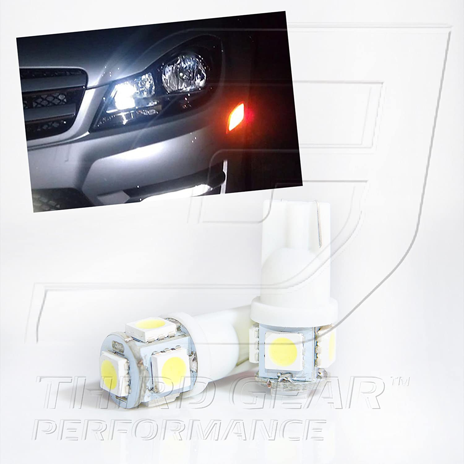 TGP T10 White 5 LED Credence SMD Wedge 5050 shop Light 2006 Pair Bulbs Parking