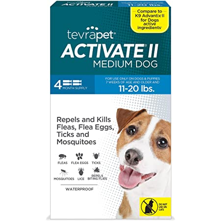 Amazon Com Tevrapet Activate Ii Flea And Tick Prevention For Dogs Topical 11 20 Lbs Medium 11 20 Lbs 00001 Pet Supplies
