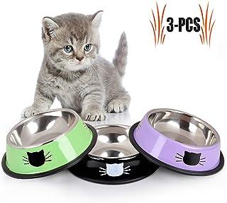 Legendog Comida Gato, 3 Unidades, Acero Inoxidable Antideslizante Gatos napf   Juego de Comida para Gato   Comedero para Animales Gato, Bol de Comida Gato   Agua Forro Cuenco