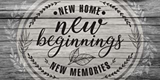 New Home New Beginning New Memories - 12 x 24 Canvas Wall Art (Printed on Canvas, Not Wood)- Stretched on a Heavy Wood Frame - Perfect for Above a Couch - Makes a Great Housewarming Gift Under $50