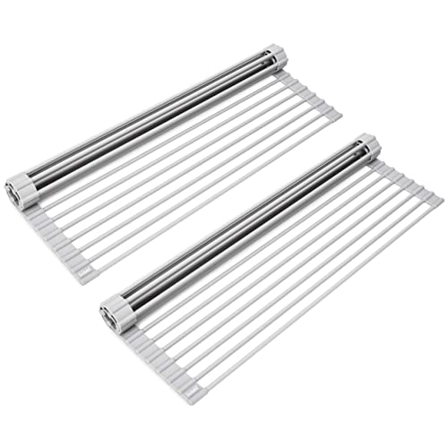 Surpahs Over The Sink Multipurpose Roll-Up Dish Drying Rack (Warm Gray, Large - 20.5 x13 ) - 2 Pack