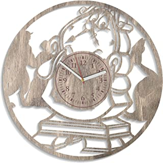 NadezhdaShop Cogsworth Wooden Wall Clock for Kids Disney Cartoon Cogsworth Wall Decals for Living Room Party Decorations Beauty and The Beast Wooden Clock Beauty and The Beast Wall Clock (Gray)