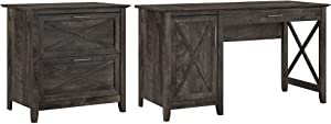 Bush Furniture Key West Computer Desk with Storage and 2 Drawer Lateral File Cabinet, 54W, Dark Gray Hickory