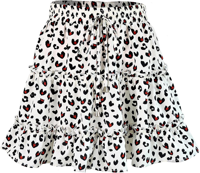 Beautisun Women Floral Print Pleated Ruffle Mini Skirt Cute High Waist A Line Flared Short Skirt
