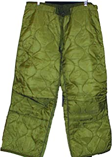 U.S. Government Contractor Military Field Pant Liner for Cold Weather Trousers - Quilted - Olive Drab Green - Genuine Army Issue