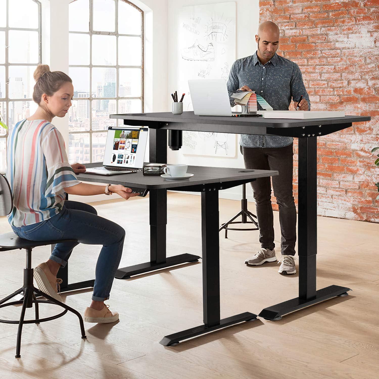 JUMMICO Computertisch mit Elektrischer H/öhenverstellung Schreibtisch Studiertisch f/ür das Home Office Schwarz
