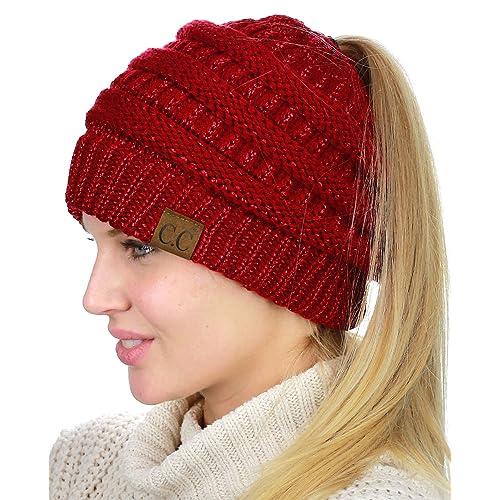 6e8e0851fd3 C.C BeanieTail Soft Stretch Cable Knit Messy High Bun Ponytail Beanie Hat