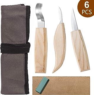 Vintoney - Juego de herramientas de tallado de madera, 6 cuchillos de tallar madera, juego profesional de tallar madera, cuchillos, herramientas para principiantes profesionales, cuchara y cuenco