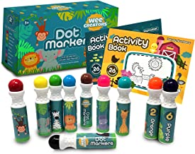 Wee Creators Washable Dot Markers for Kids with 2 Educational Activity Books | 10 Color Set (Original)