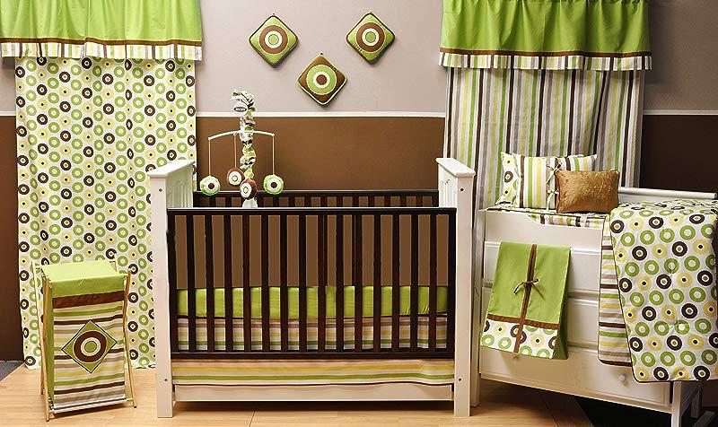 Bacati Mod Dots Stripes 10 Piece Nursery In A Bag Crib Bedding Set With Long Rail Guard Green Yellow Chocolate