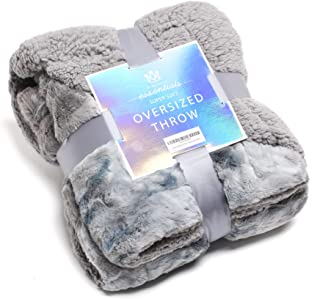 Best Kingole Faux Fur Oversized Throw Blanket, Thick and Warm Luxurious Plush Travel Sherpa Blanket for Couch Sofa Bed, 50 x 60 Inch, Grey Review