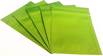Press /& Zip Heat-Seal Durable Resealable Reusable Storage Green 3.5x5 Shiny Mylar Foil Bag UV Resistant Smell Proof Package Tear-Tab
