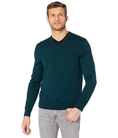 Calvin Klein Merino V-Neck Sweater (Peacock) Men