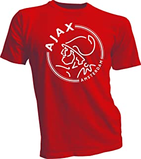 AFC Ajax Amsterdam Football Club Soccer T-SHIRT white logo Red 4XL