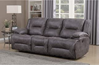 Dylan Dual Power Reclining Sofa with Memory Foam Seat Toppers and USB Charging Ports Grey Transitional Solid Polyester Wall Hugger