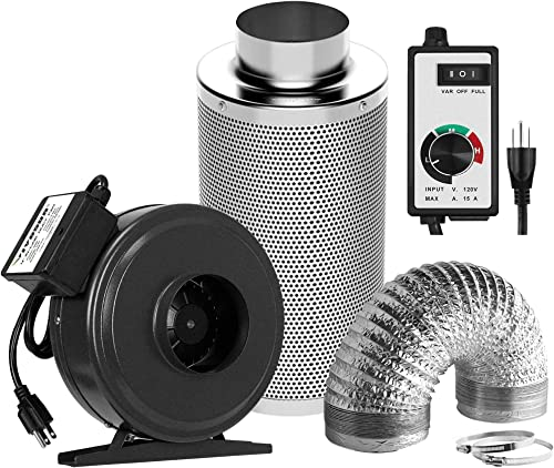 popular VIVOSUN 2021 Variable Vent Fan Speed Controller and Air outlet sale Filtration Kit: 6 Inch 440 CFM Inline Fan, 6'' Carbon Filter and 16 Feet of Ducting Combo online