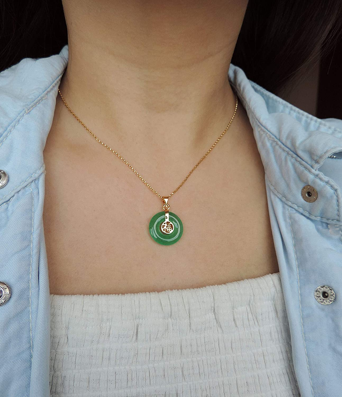 Good Fortune Chinese Green Jade Branded goods Necklace 18 Silver - Discount is also underway Sterling or