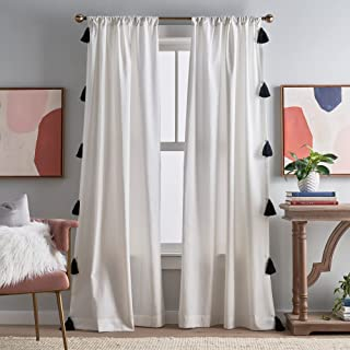 "Peri Home Chunky Tassel Rod Pocket Window Curtain Panel Pair, 84"", White with Black Tassel"