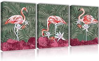 Flamingo Tropical Decor Wall Art - Wild Animal Canvas Large Framed Painting Leaf Girls Pink Bedroom Bathroom Kitchen Green...