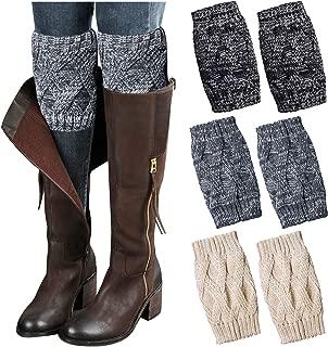 3PCs Fashion Women Winter Crochet Knitted Boot Cuffs Socks Short Leg Warmers, Ankle & Knee Warmers, Topper Socks for Boots