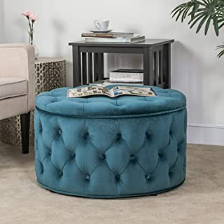 Homebeez Velvet Round Storage Ottoman, Button-Tufted Footrest Stool Bench, Upholstered Coffee Side Table (Dark Teal)