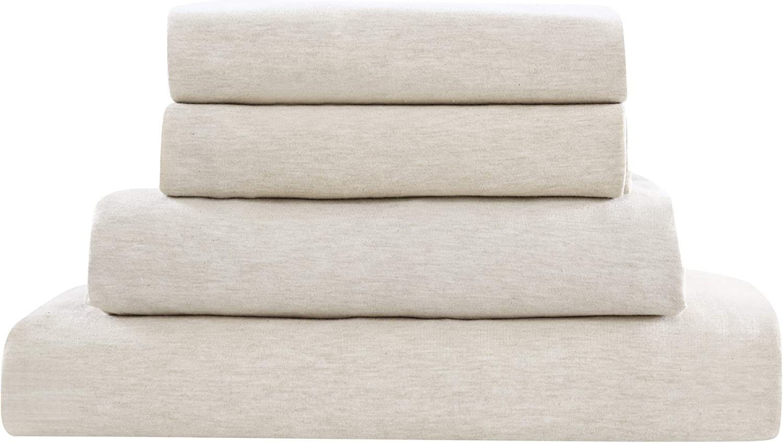 Brielle Home Cotton Ranking TOP20 Spasm price Jersey Knit Sheet T-Shirt Heat Queen Set