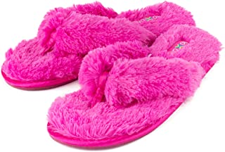 Fuzzy House Slippers for Women – Comfortable Furry Spa Thongs – Cozy Slip On Flip Flops - Soft Insole & Rubber Outsole