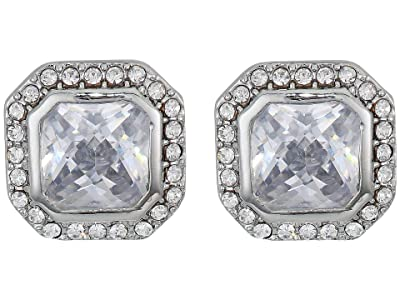 Vince Camuto Cushion Cut Clip Studs Earrings (Rhodium/Crystal) Earring