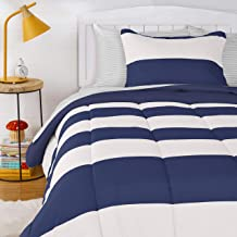 AmazonBasics Kids Easy-Wash Microfiber Bed-in-a-Bag Rugby Stripe Bedding Set - Twin, Navy/Silver