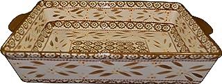 "Temp-tations 11""x7"" 2.5 Quart Baker Lasagna CasseroleDish Replacement - Old World Pattern (Old World Brown)"