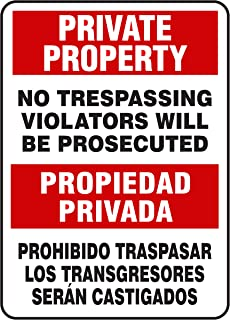 LASMINE Private Property No Trespassing Signs Sign Metal Violators Will Be Prosecuted Propiedad Privada Traspasar Los Seran Castigados 8X12Inch