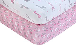 Little Love by NoJo Giraffe Time - 2 Count Crib Sheet Set - Pink