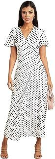 فستان لف متوسط الطول بتصميم منقط للنساء
