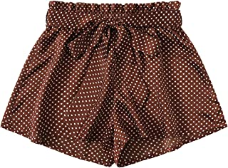Milumia Women's Casual Elastic Waist Self Tie Waist Frill Trim Shorts with Pocket