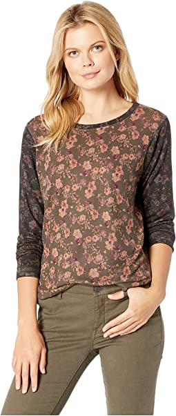 Brown Char Floral Print Top