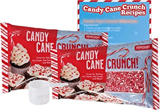 Candy Cane Peppermint Crunch - 2pk 10oz Bags, 1 Plastic Scoop, & 1 Recipe Card - Crushed Peppermint Candy Canes Topping - Christmas Candy Dessert Topping