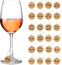 24 Pieces Wine Glass Charms Markers Drink Markers for Wine Glass Champagne Flutes Cocktails, Martinis (Wooden)