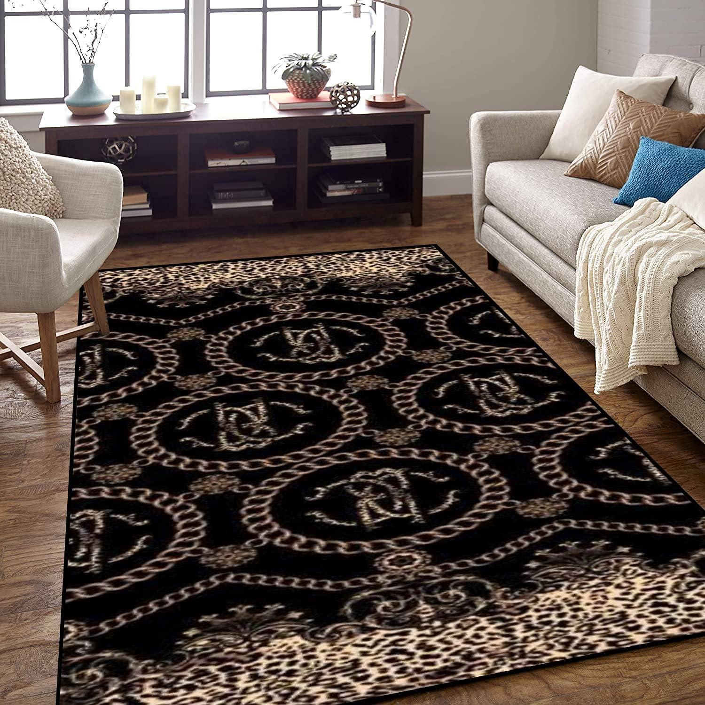 Area Rug Non-Slip Under blast Atlanta Mall sales Floor Mat Chain Art Baroque Leopard Pattern De