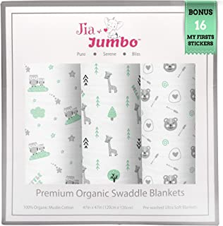 Jia & Jumbo Organic Baby Swaddle Blankets -Neutral Muslin Swaddle Blankets -Unisex Large Receiving Blankets for Boys or Girls Set of 3 Silky-Soft Cotton Swaddling Blankets -Green Woodland Animal