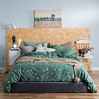 YuHeGuoJi 3 Piece Duvet Cover Set 100% Cotton Queen Size Green Botanical Pattern Bedding Set 1 Pine Cone Print Duvet Cover 2 Pillowcases with Zipper Ties Luxury Quality Soft Comfortable Easy Care