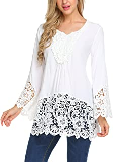 SoTeer Women's Casual Tops Lace Splice Flare Sleeve Flowy Loose Peplum Boho Blouse T-Shirt Tops S-XXL