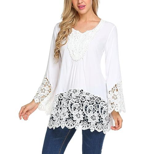 c542a613a7643e SoTeer Women's Casual Lace Splice Flare Sleeve Flowy Loose Peplum Boho  Blouse T-Shirt Tops