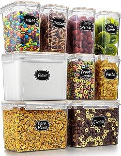 Wildone Lot de 9 boîtes de conservation hermétiques pour aliments secs et céréales - Pour farine, sucre, fournitures de cu...