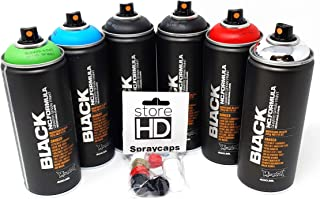 Montana Black Spray Cans Set 6 Base Colours + 10 Replacement Spray Heads - 6 x 400 ml