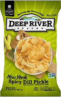 Deep River Snacks Kettle Potato Chips, New York Spicy Dill Pickle, 5 Oz (Pack Of 12), Gluten Free